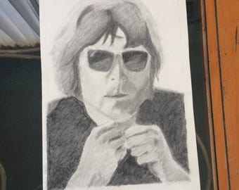 John Lennon Charcoal Drawing