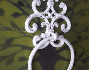 Shabby Chic Towel Ring Distressed White Cast Iron Towel Holder Kitchen Towel Rack Iron Towel Hanger