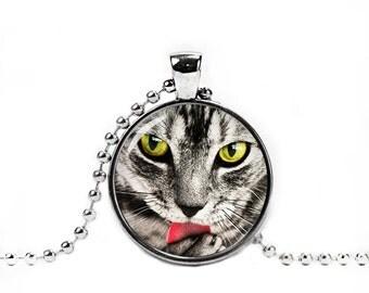 Cute Cat Necklace Cute Cat Pendant Cat Jewelry Cat Tongue