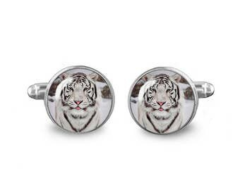 White Tiger Cuff Links 16mm Cufflinks Gift for Men Groomsmen Novelty Cuff links Fandom Jewelry