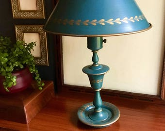 Vintage Mid Century / Hollywood Regency Teal Tole Lamp with Painted Gold Detail - Includes Base, Shade, and Milkglass Shade