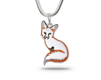 Fox pendant, Fox Necklace, Fox Jewelry / Solid sterling silver (silver 925), enamel
