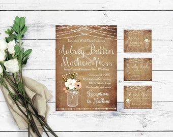 Printable Wedding Invitation Suite- Mason Jar Wedding Invitation Templates- Rustic Wedding Suite-DIY Wedding Invite-Boho Wedding Invitation