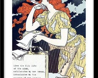 Art Nouveau Print, Ernest Hemingway Quote