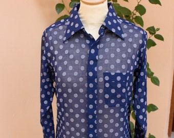 Polka Dot Shirt, Navy Blue, 1970's