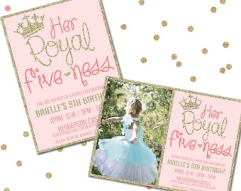 Her Royal Fiveness, Princess Birthday Invitation, Fifth Birthday Invitation, Printable Birthday Invitation, Girl Birthday, Princess Party