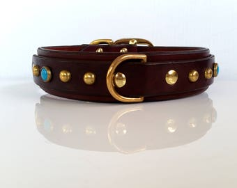 Leather Dog Collar / Custom Dog Collar / Black Leather Dog Collar / Brown Leather Collar / Western Dog Collar / The Maddox