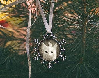 Custom Photo Christmas Tree Ornament - Silver Flower Charm - Snowflake Pet Photo Ornament - Custom Picture