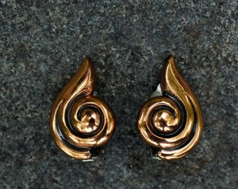 vintage copper swirl clip on earrings / copper vintage abstract modern earrings