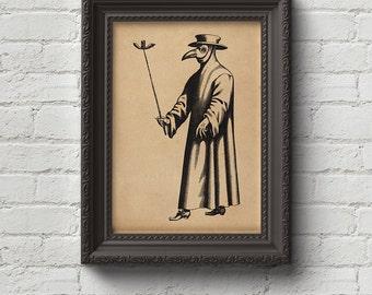 Plague Doctor Print, Wall Art, Art, Woodcut, Engraving, Middle Ages, Black Plague, Bubonic, Black Death, Cute Gift