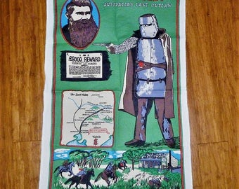"""Vintage 1980s Tea Towel """"Ned Kelly - Australia's Last Outlaw"""" / Retro Australiana / Bushranger Teatowel / Kelly Gang"""