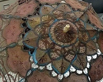 hand painted parasol steampunk