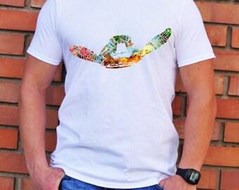 Turtle T-Shirt - Colorful Tee - Fashion T-shirt - White shirt - Printed shirt - Men's T-shirt - Gift