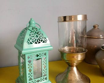 Moroccan candle in metal and glass - hand made