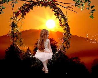 Flower swing wreath Background or for composite fairy Photography