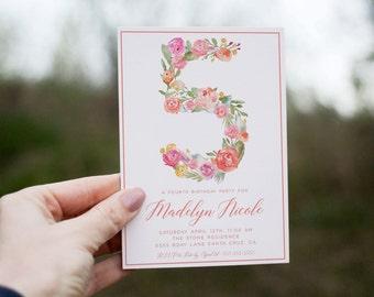 Fifth Birthday Invitation girl, 5th birthday invitation, Birthday invitation with flowers, floral invite, girl birthday, 5, monogram