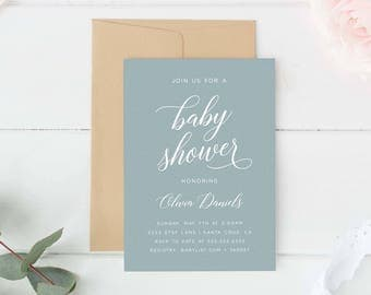 baby shower invitation simple calligraphy modern gender neutral baby shower invites printed