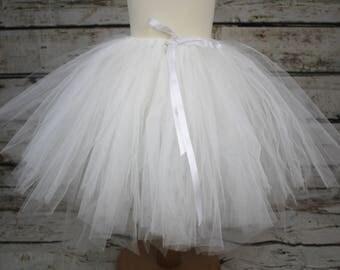 Super Full Longer Length Ivory White Tulle Tutu Baby Girls Photo Prop Shoot Christmas Birthday Gift