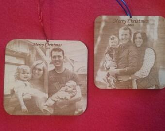 Wood photo ornament