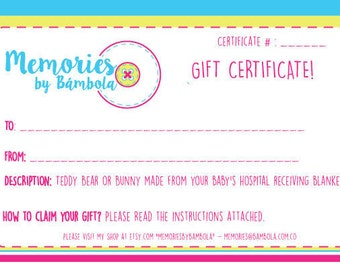 Gift Certificate for Teddy Bear or Teddy Bunny
