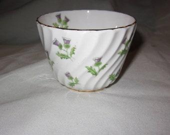 Vintage Aynsley bone china sugar bowl - Scottish thistle