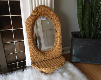 Vintage Mid century Modern Wicker Mirror with shelf/sconce/wood/hanging