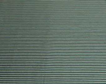 Green and Gold Striped Cotton Fabric
