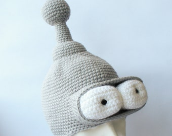 Bender inspired hat, Robot Bender, Bender robot, Crazy hat, Crazy hat for him, Gift for him, Boyfriend gift, Cool hat, Hat with eyes, beanie