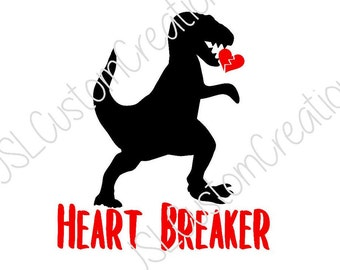 Dinosaur Heart Breaker SVG, EPS, DXF, png File, Valentine, Little Boy, Toddler, Baby, for Silhouette, Cricut, Vectors
