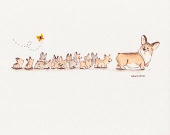 A Dozen Puppies Print