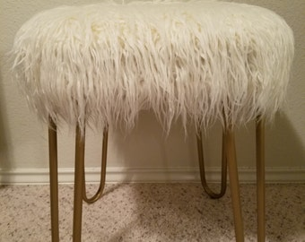 Faux Mongolian Fur Stool w/ Gold Hairpin Legs