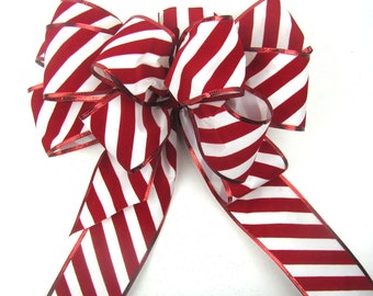 Candy cane bow, christmas tree bow, christmas decor bow. christmas gift bow, wreath bow, candy stripe bow, outdoor bow, red white stripe bow
