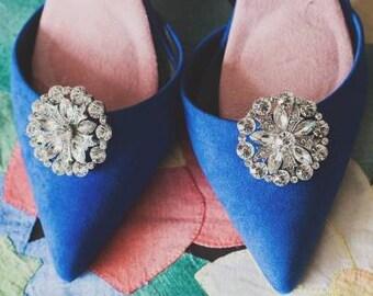 Bridal shoe clips, full diamante - Diana