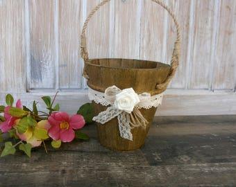 Flower Girl Basket Baby Flower Girl Rustic Wedding Flower Girl Basket Wooden Basket Wedding Basket Baby Flower Basket Mini basket
