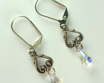 Silver heart crystal dangle earrings