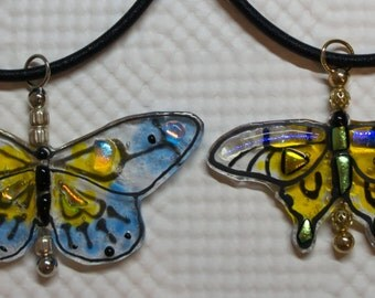 498 A-D Butterfly Necklace - Fused Glass