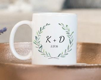 Wedding Mug, Custom Mug, Wedding Initials, Green Wreath Mug, Wedding Party Mug, Wedding Gift, Custom Gift,  Personalized Mug