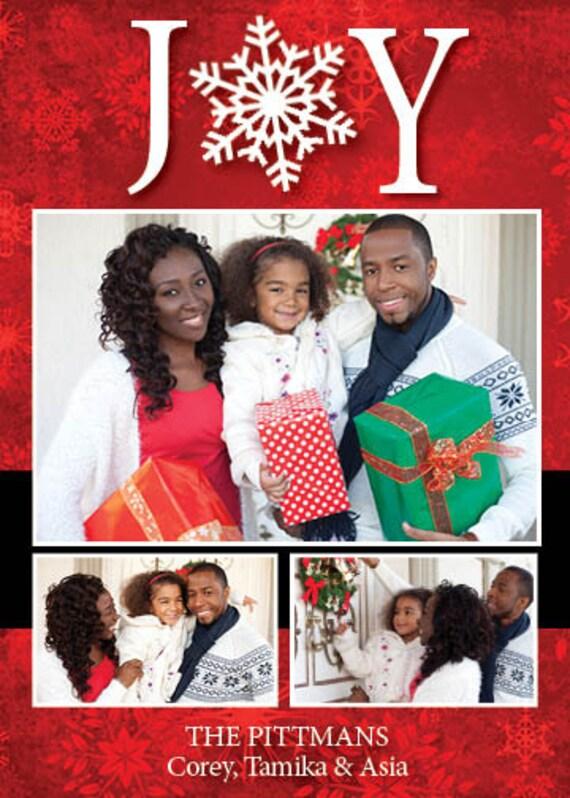 JOY Holiday Photo Card-Customized-Digital Printable Download