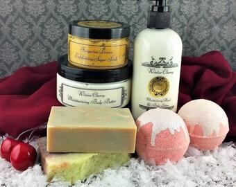 Cherry Spa Set - Bath Gift Set for Her - Cherry Bath Set for Woman -Cherry Bath Basket -Luxury Bath Gift Set -Holiday Gift Basket -Bath Gift