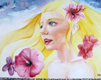 """Watercolor original portrait """"Spring"""""""