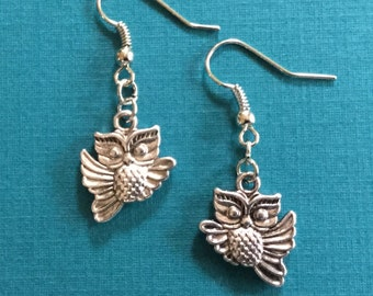 Silver Owl Earrings with Small Flying Owls / Gift for Owl or Bird Lovers