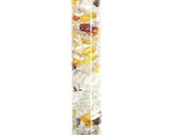 Gemstone water bar with rock crystal, amber, Garnet and diamond in the rough