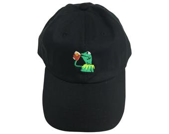 Kermit Tea Meme Baseball Cap But Thats None Of My Business Hat Embroidered Frog Sipping Unstructured Lebron James Dad Funny Gift Adult Black