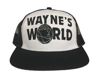 Wayne's World Trucker Cap Like The Hat Worn By Wayne Campbell In Saturday Night Live HIGH QUALITY 90's Movie Tv SNL Costume White And Black