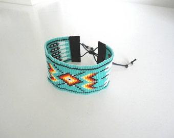Woven beaded Bracelet by miyuki number 11. Native American style.