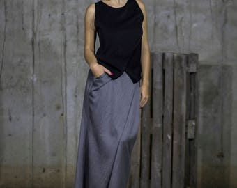 Black wrap front tank top | Zip up top | Short black top | Elegant top by Silvia Monetti