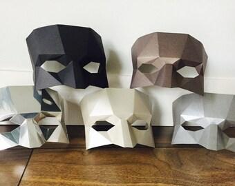 Low poly mask/PDF Half mask/DIY mask/Paper mask/Fancy dress/Halloween Mask/Printable Templates/