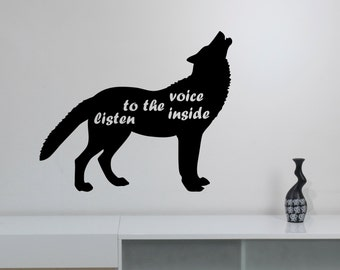 Inspirational Quote Wall Art Decal Wolf Vinyl Sticker Wild Animal Predator Decorations for Home Living Room Bedroom Wildlife Decor wlf2