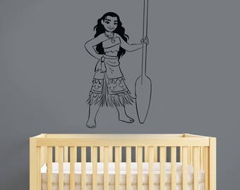 Moana Wall Decal Removable Vinyl Sticker Disney Character Art Fantasy Cartoon Decorations for Home Kids Girl's Room Movie Decor mna1