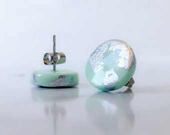 Mint green and silver clay stud earrings, Circle, square, triangle, tear drop